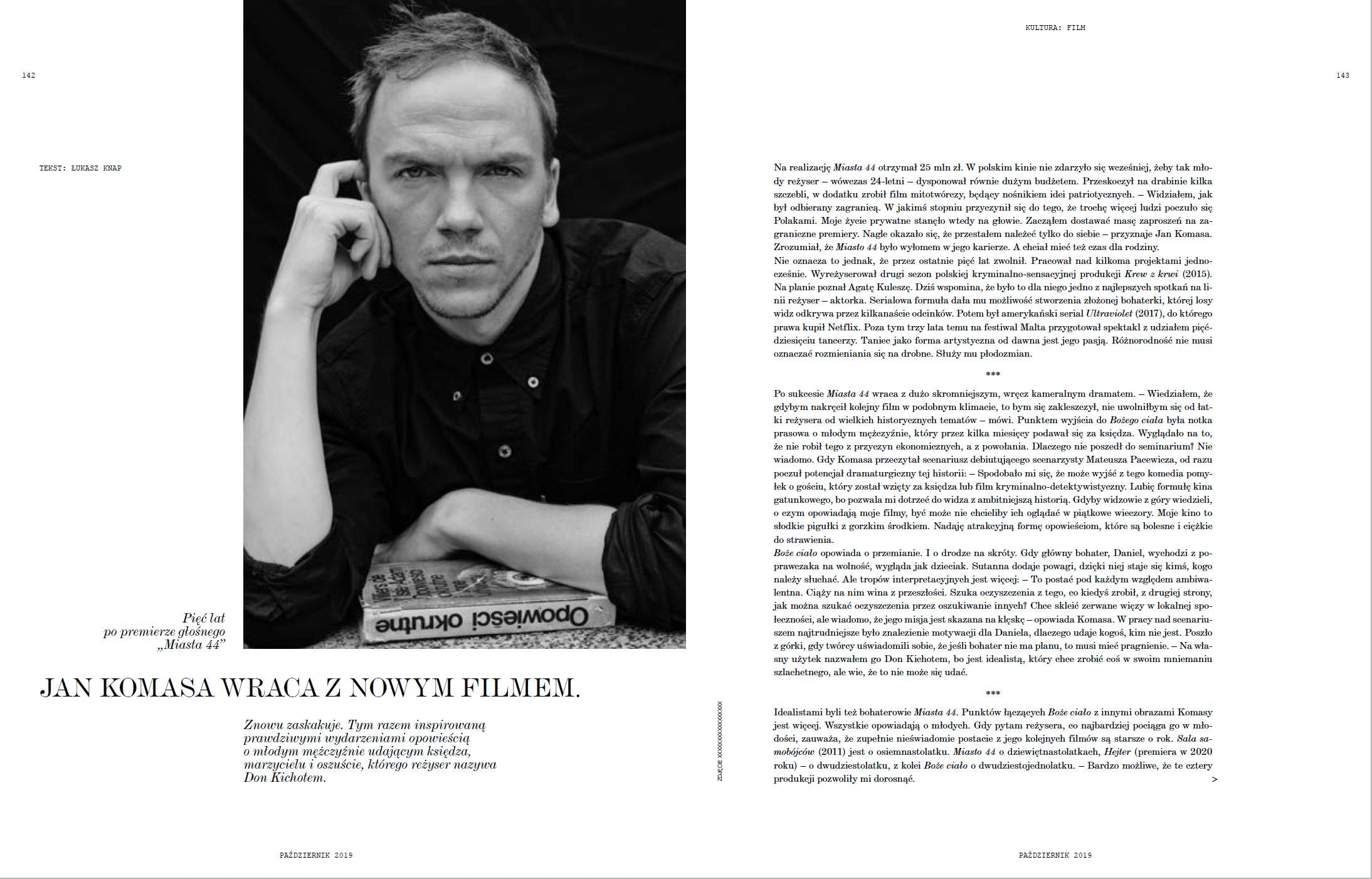 """Słodkie pigułki z gorzkim środkiem. O """"Bożym ciele"""" Jana Komasy w październikowym numerze """"Vogue Polska"""""""