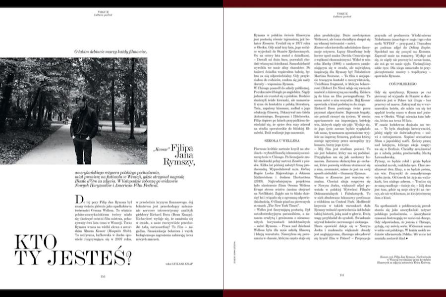 """Vogue"": Portret Filipa Jana Rymszy, reżysera ""Komara"""