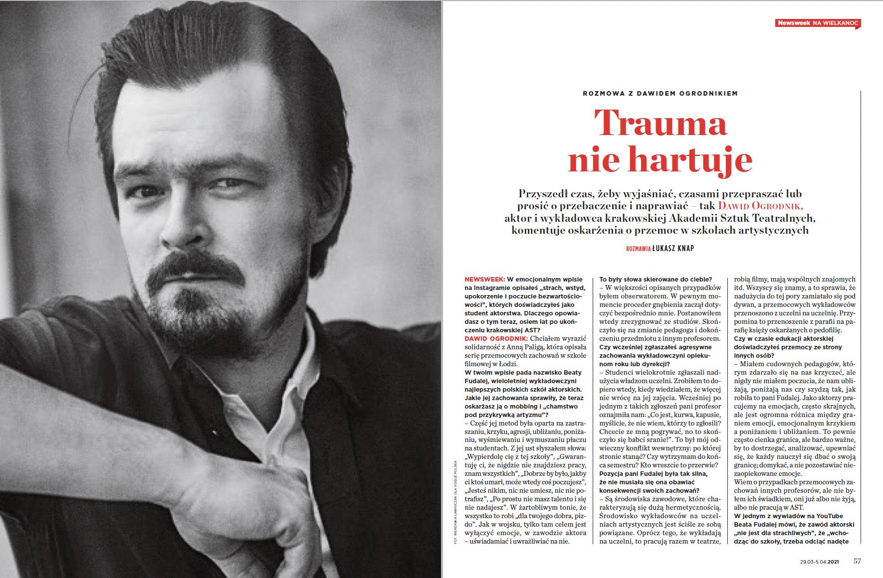 """""""Trauma nie hartuje"""". Rozmowa z Dawidem Ogrodnikiem w """"Newsweeku"""""""